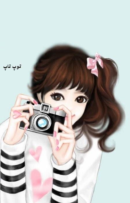 عکس پروفایل فانتزی دخترونه خیلی خوشحال دوربین به دست