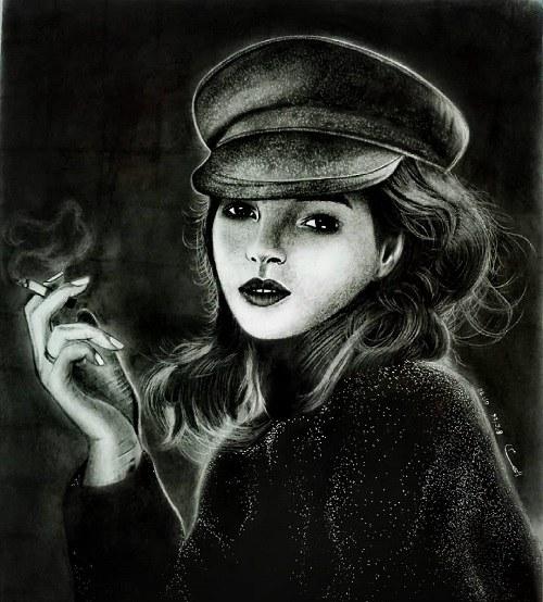 تصاویر نقاشی از دختر سیگاری برای پروفایل
