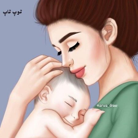 عکس فانتزی مادر و نوزادش برای پروفایل تو بغل همدیگه