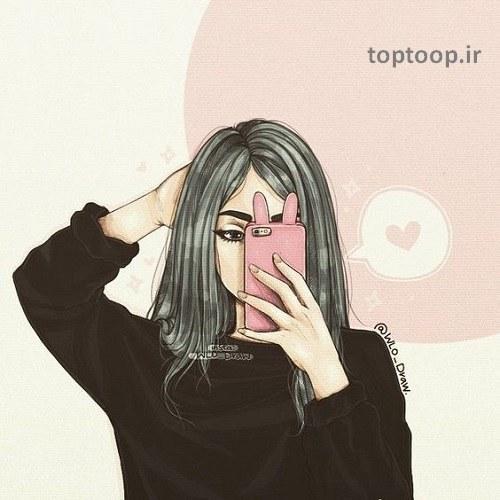 پروفایل نقاشی شده دخترونه مخصوص اینستاگرام در سال 2019