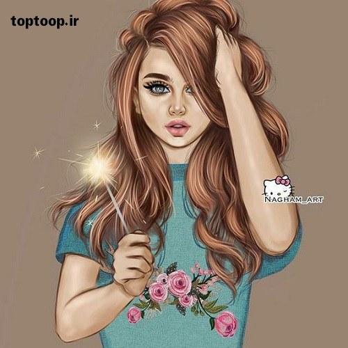 عکس دختر با صورت تپل فانتزی و اسپرت شاخ برای پروفایل