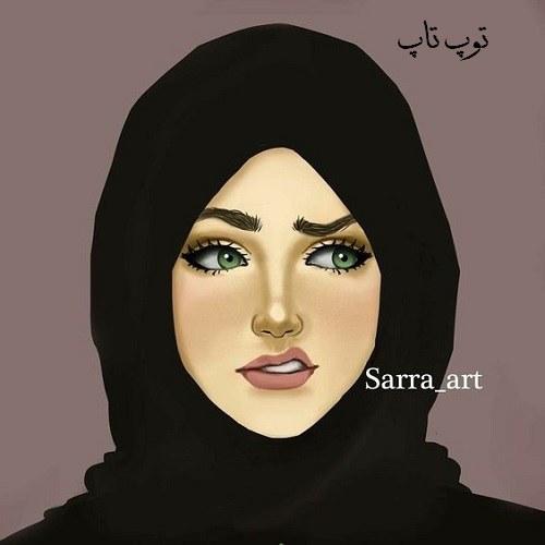 عکس پروفایل دخترونه نقاشی شده با حجاب و مقنعه مشکی