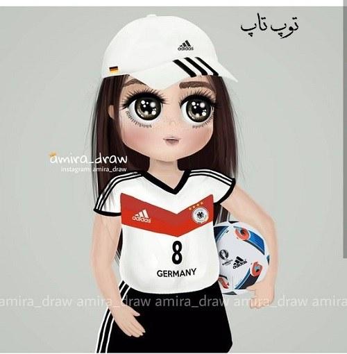 عکس پروفایل نقاشی دخترانه + بچه ورزشکار با توپ فوتبال در دست