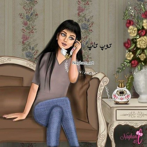 عکس پروفایل دخترونه در حال تلفن زدن + کارتونی