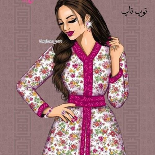 عکس پروفایل نقاشی دخترانه با لباس های رنگی و مجلسی خوشگل