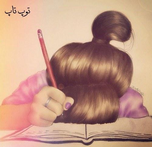 نقاشی دختر در مورد باز شدن مدرسه ها خسته روی کتابها خوابیده