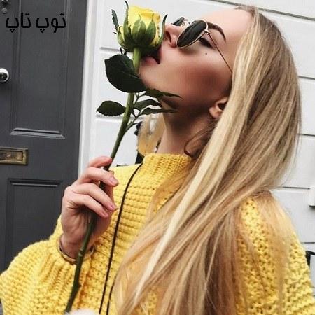 عکس پروفایل دختر با گل رز زرد رنگ