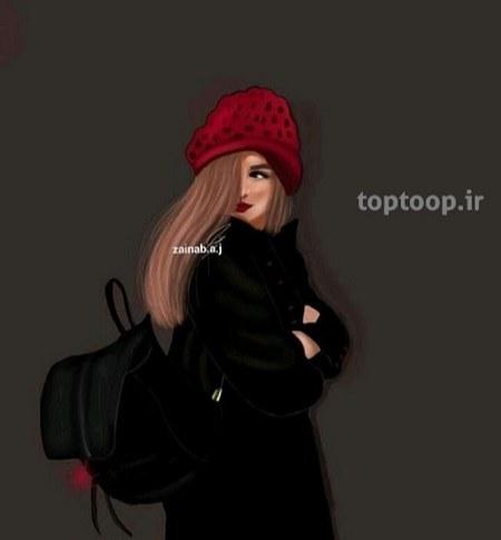 عکس فانتزی دختر با کیف و کوله پشتی مشکی و زیبا