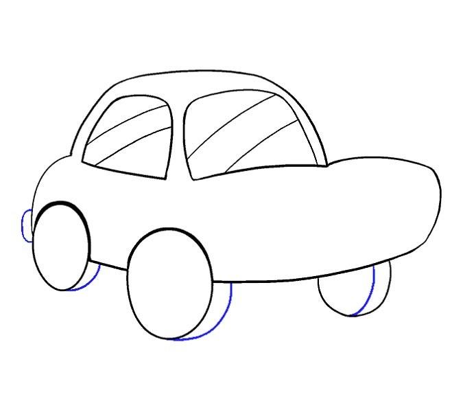 آموزش نقاشی ماشین کودکانه مرحله یازدهم