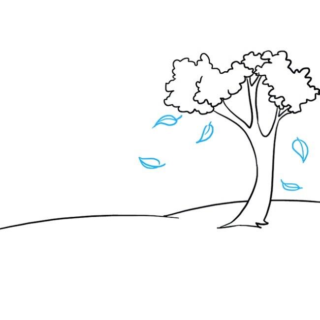 آموزش نقاشی منظره پاییزی مرحله سوم