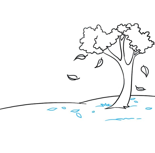نقاشی کودکانه منظره پاییزی مرحله پنجم