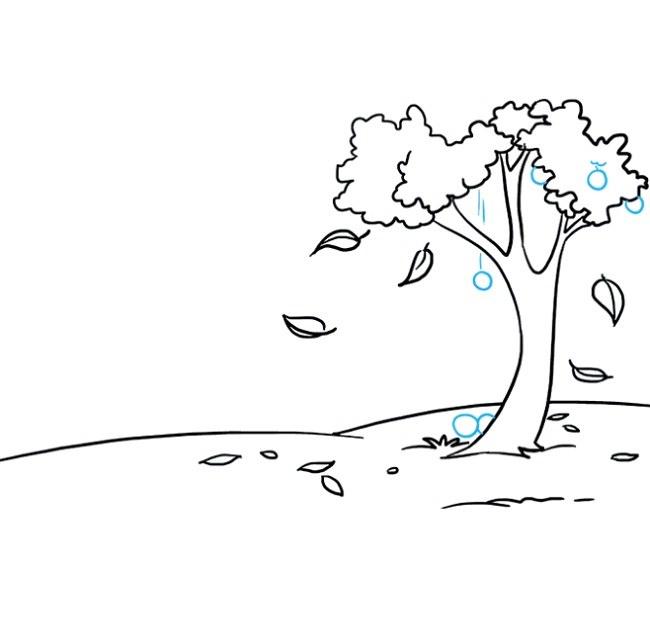 نقاشی کودکانه منظره پاییزی مرحله ششم