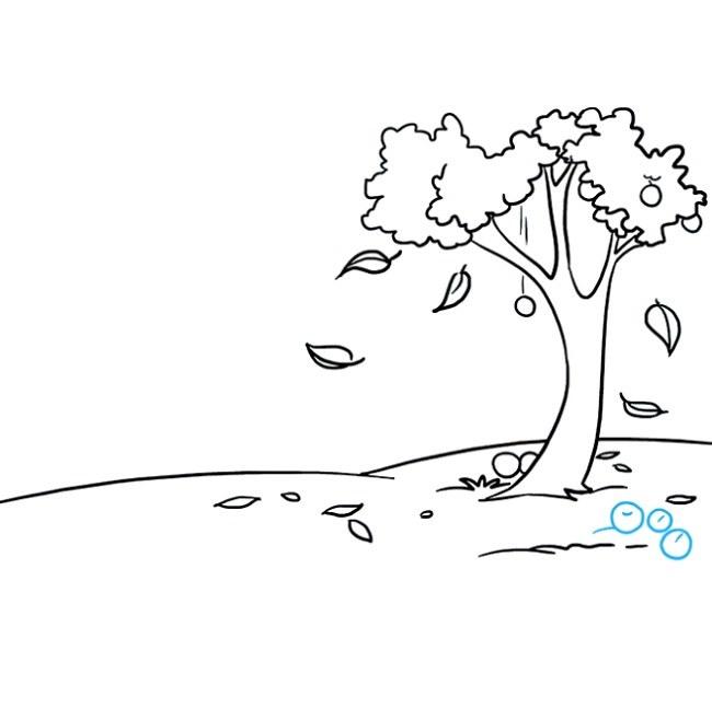 نقاشی منظره پاییزی برای بچه ها مرحله هفتم
