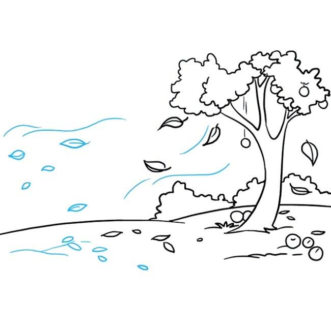 قدم به قدم نقاشی منظره پاییزی مرحله نهم