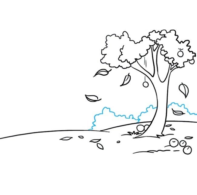 رسم نقاشی پاییزی مرحله هشتم