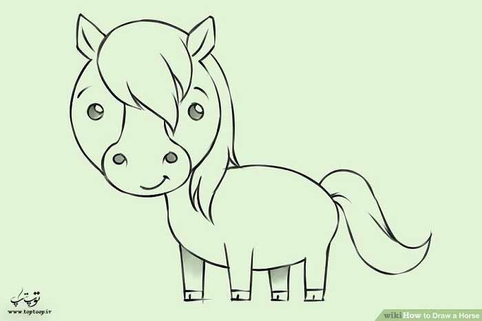 آموزش نقاشی اسب کارتونی
