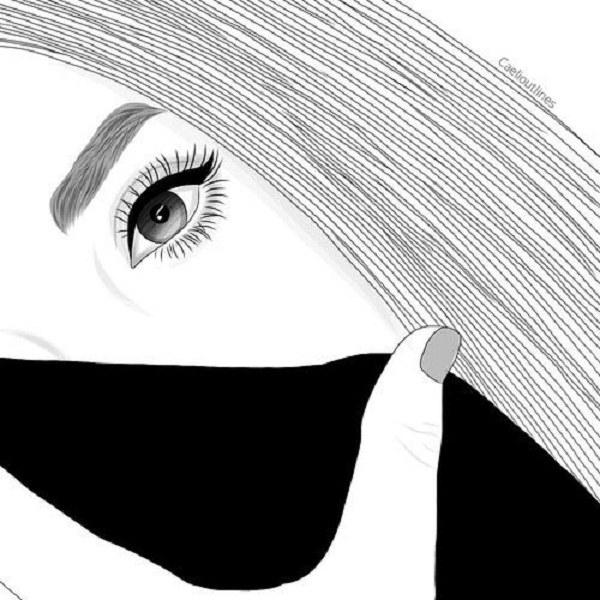 نقاشی سیاه و سفید فانتزی دخترانه