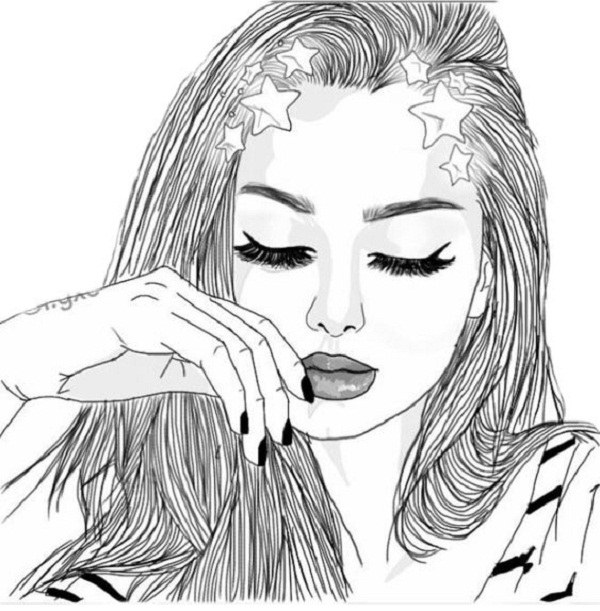 نقاشی دخترونه فانتزی با طرح سیاه و سفید واسه پروفایل