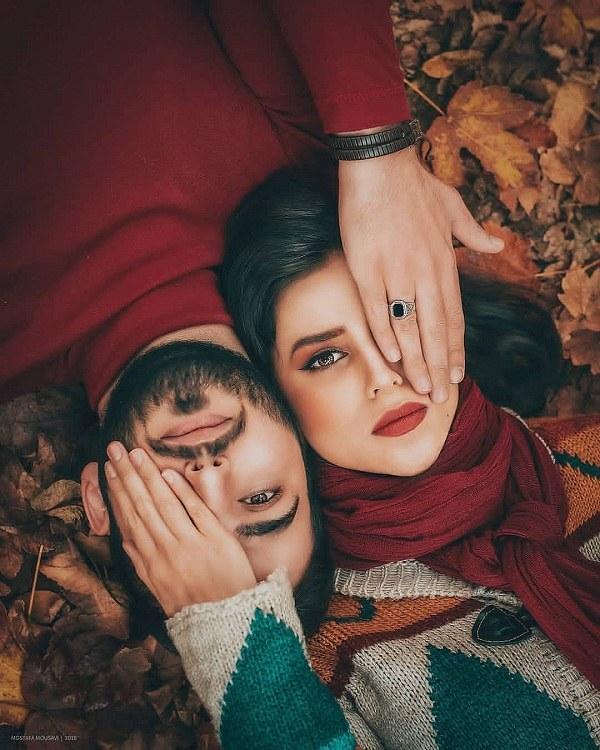 ژست عکس دختر و پسر عاشقانه