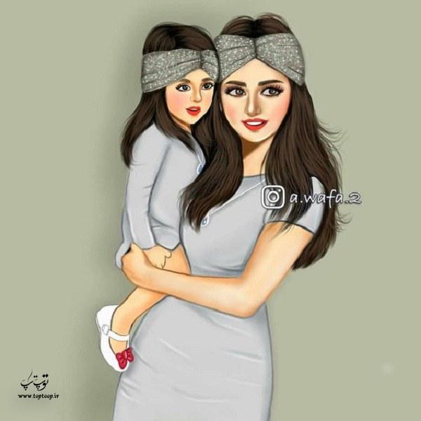 عکس نقاشی دخترانه مادر و دختری فانتزی 2020 جدید