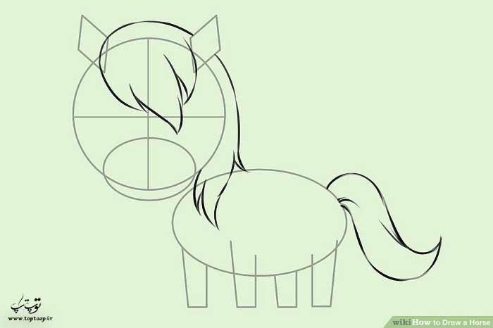 آموزش نقاشی اسب آسان