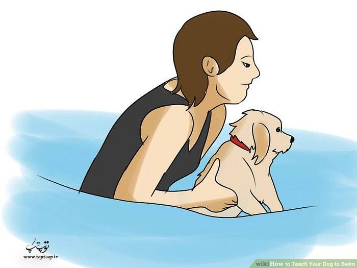نگه داشتن زیر شکم سگ با دست