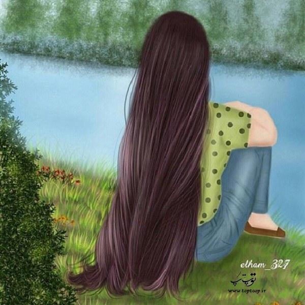 عکس دخترونه از پشت با موهای بلند و قشنگ