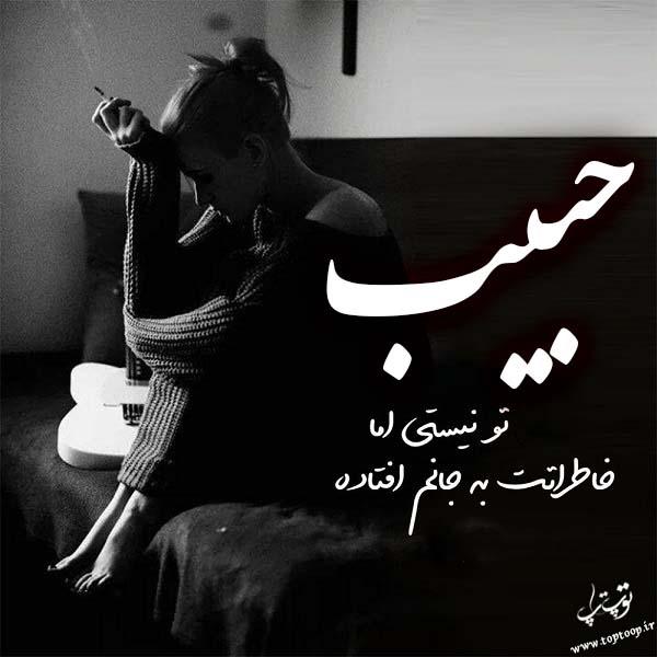 عکس نوشته غمگین اسم حبیب