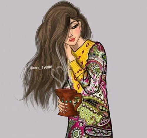 پروفایل نقاشی دخترونه با موهای زیبا و بلند