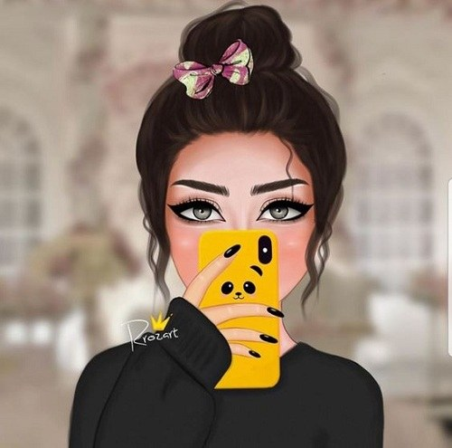 عکس نقاشی دخترونه بامزه برای پروفایل