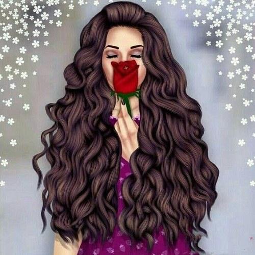 عکس پروفایل دخترونه با گل و موی بلند قهوه ای