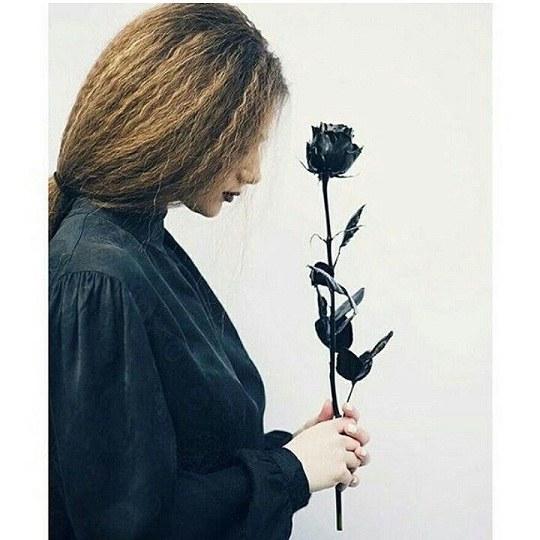 عکس پروفایل دخملونه غمگین که گل رز سیاه در دست داشته باشه