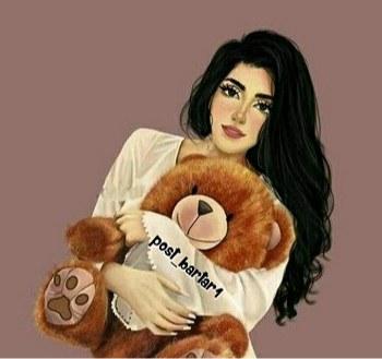 عکس دختری که عروسک خرس تو بغلشه