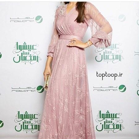 مدل لباس مجلسی بلند برای زنان شکم دار