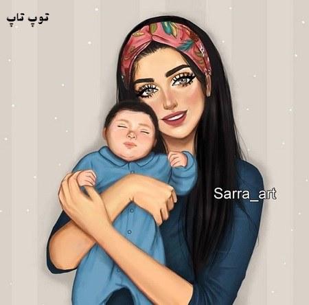 عکس یه مادر با فرزندی که در آغوش بصورت فانتزی مناسب پروفایل تلگرام