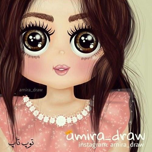 عکس پروفایل دختر بچه بسیار زیبا با چشم های سیاه و موهای بلند به شکل نقاشی