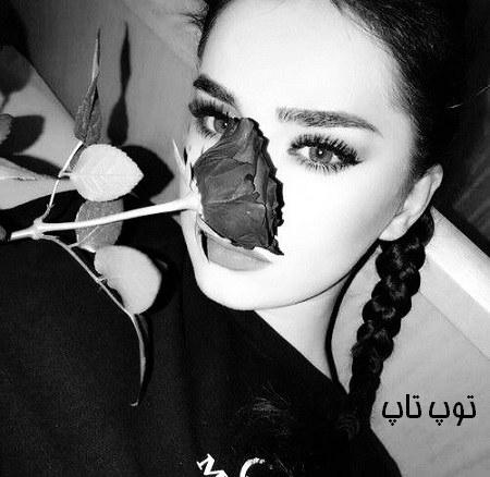 عکس دختر با گل رز سیاه برای پروفایل