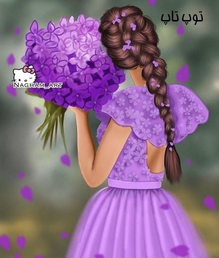 عکس پروفایل دخترانه با دسته گل بزرگ نرگس