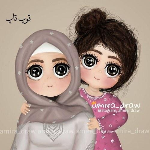 عکس نقاشی شده دو تا خواهر که بچه باشن واسه پروفایل اینستاگرام