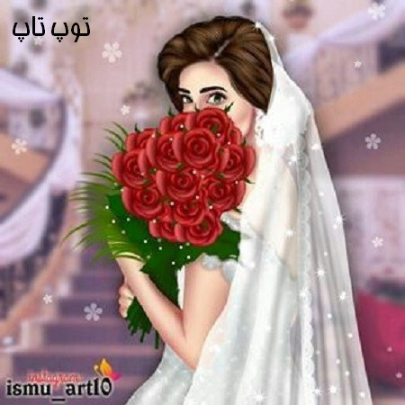 عکس دختری که عروس شده و گل دستشه
