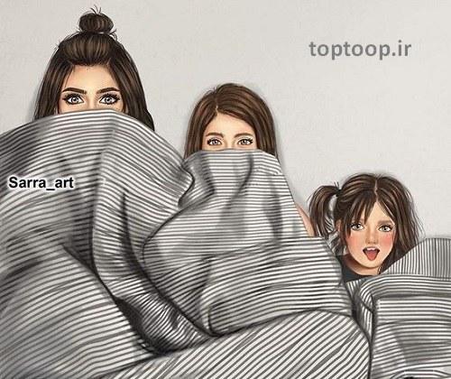 عکس دخترانه سه نفره و کارتونی واسه پروفایل اینستا