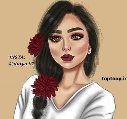 عکس دخترونه که گل روی موهای سرش برای پروفایل