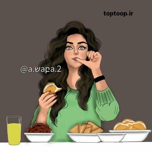 عکس پروفایل دخترانه شکمو در حال غذا خوردن و شکلک در آوردن دیونه