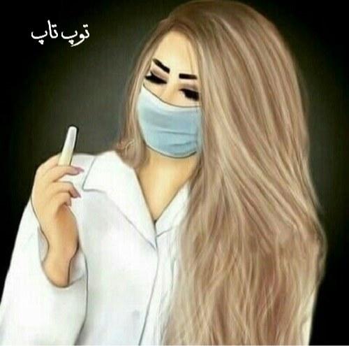 عکس نقاشی شده دخترانه خانم پرستار با لباس سفید