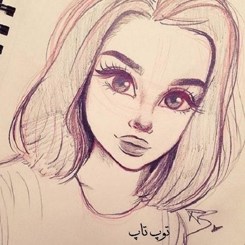 عکس های بسیار زیبا نقاشی از چهره دختر با مداد مخصوص پروفایل