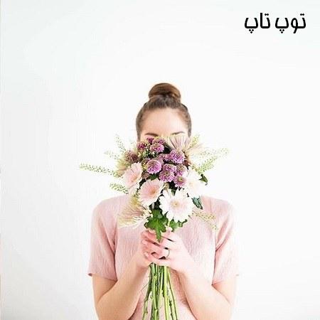 عکس دختران خارجی گل در دست