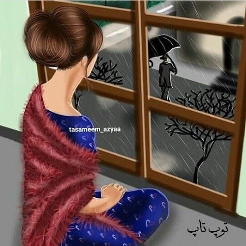 عکس پروفایل نقاشی دختر غمگین پشت پنجره با هوای بارانی