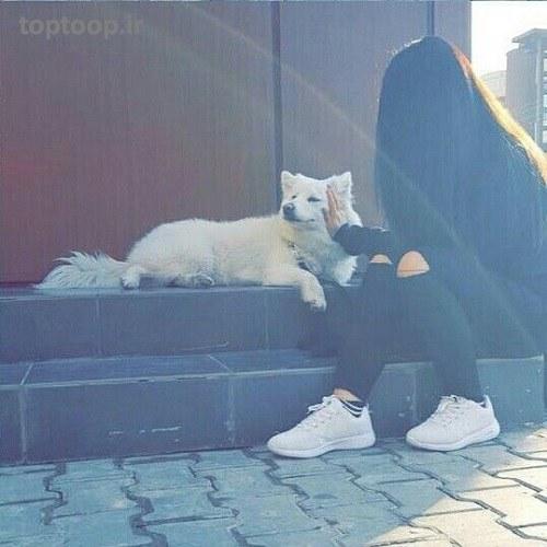 عکس دخترونه با سگش برای پروفایل اینستا