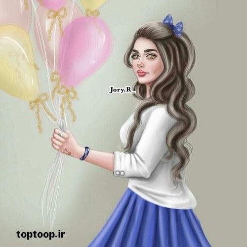 دختر نقاشی شده و اسپرتی که دستش بادبادک هست