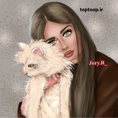 عکس دخترونه با گربه ی پشمالو و خوشگل